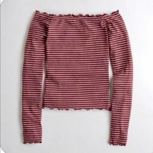 Hollister off the shoulder ruffle striped top Sm
